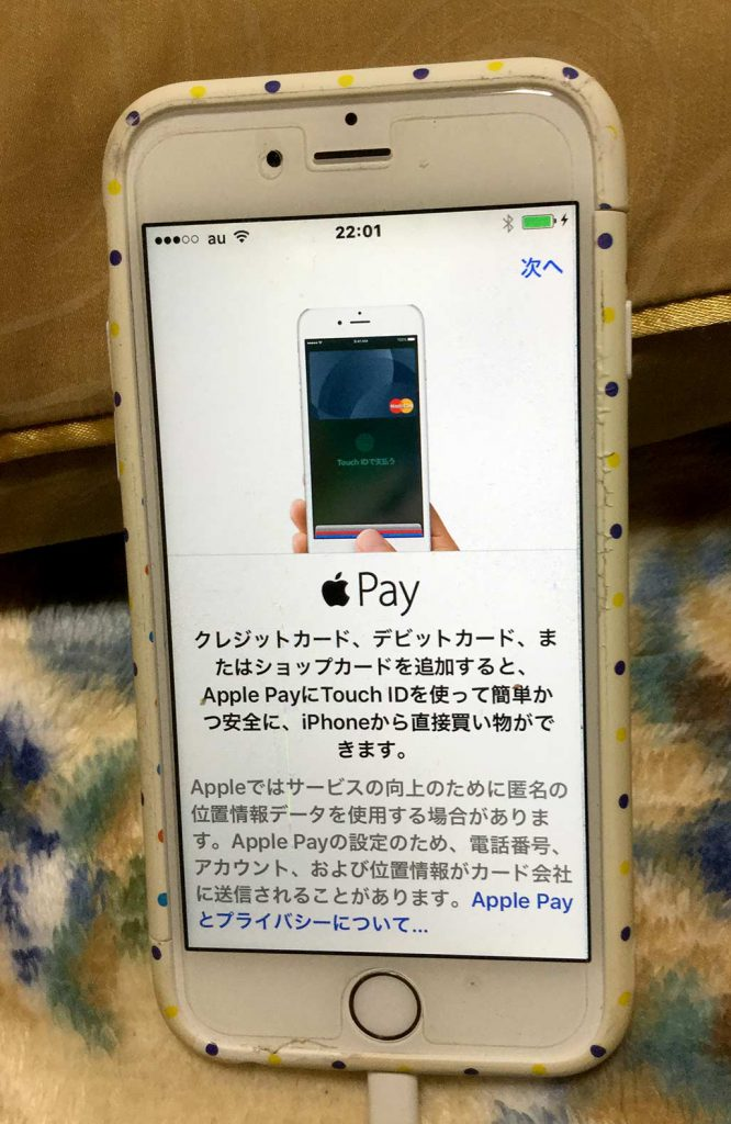 iPhoneの画面。Apple Payの説明画面。